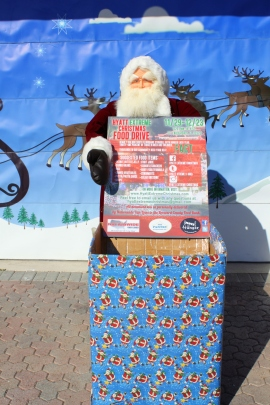 food drive box and santa