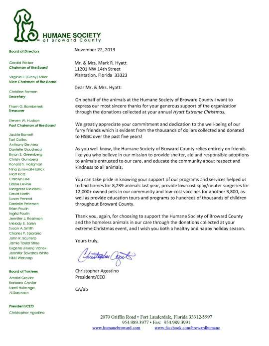 Humane Society  Support Letter